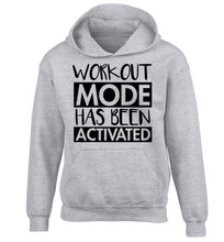 Workout mode has been activated children's grey hoodie 12-14 Years