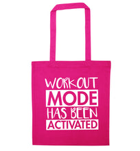 Workout mode has been activated pink tote bag