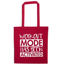 Workout mode has been activated red tote bag