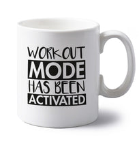 Workout mode has been activated left handed white ceramic mug