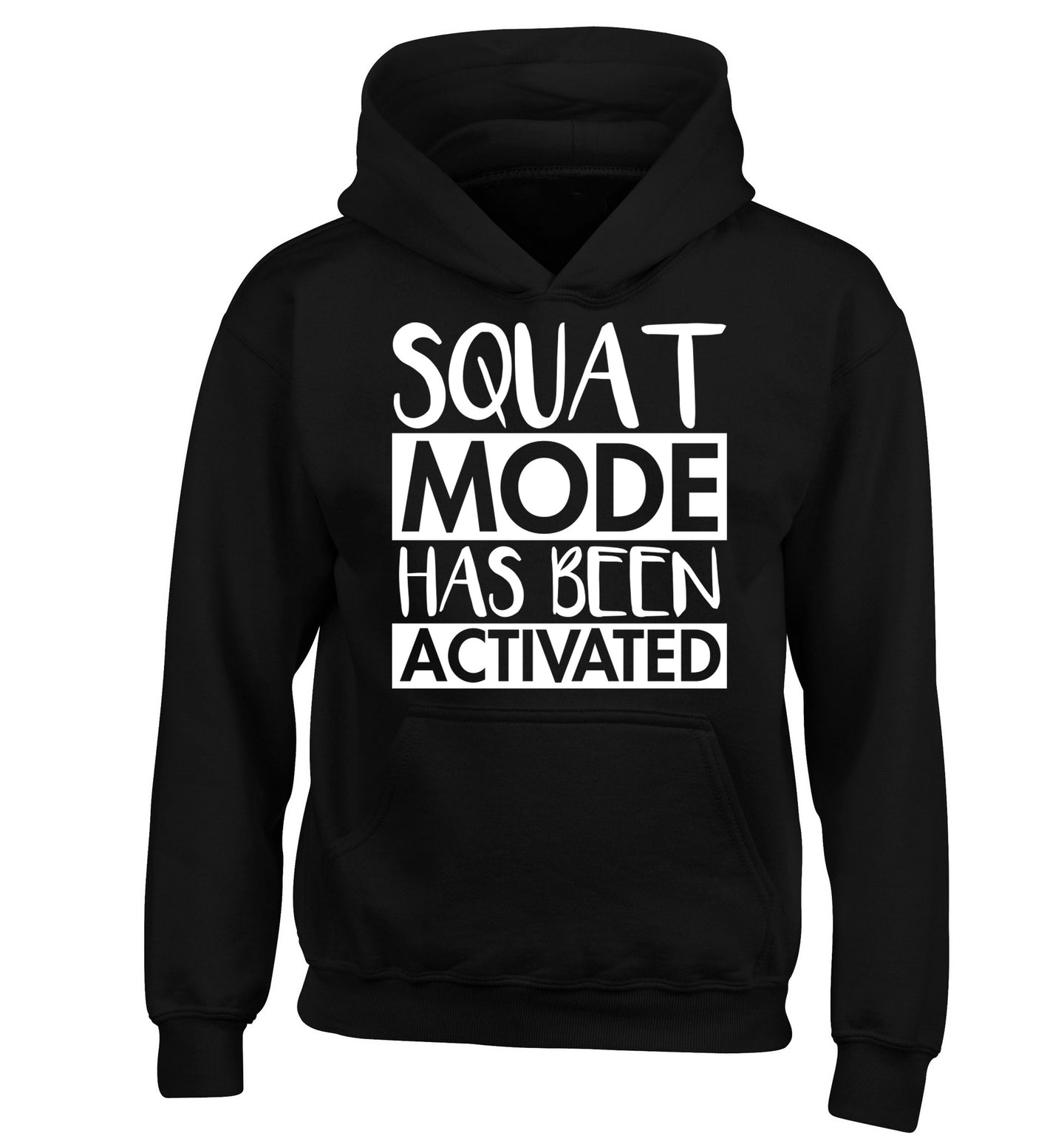 Squat mode activated children's black hoodie 12-14 Years