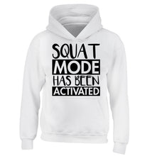 Squat mode activated children's white hoodie 12-14 Years