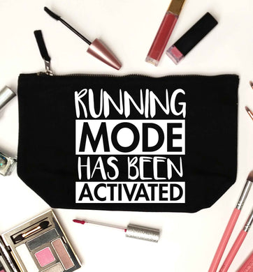 Running mode has been activated black makeup bag