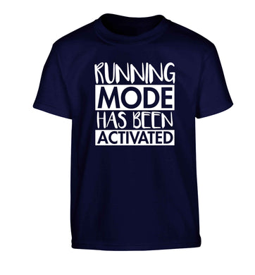 Running mode has been activated Children's navy Tshirt 12-13 Years