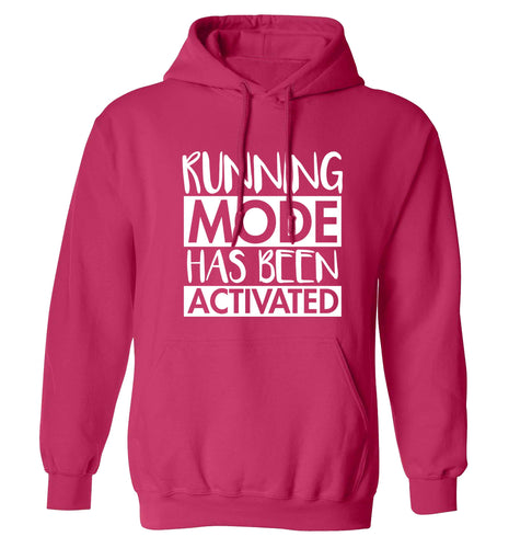 Running mode has been activated adults unisex pink hoodie 2XL