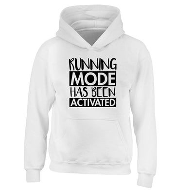 Running mode has been activated children's white hoodie 12-13 Years