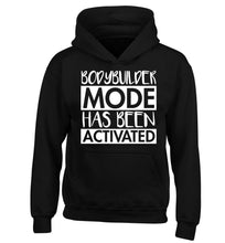 Bodybuilder mode activated children's black hoodie 12-14 Years