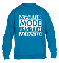 Bodybuilder mode activated children's blue sweater 12-14 Years