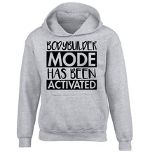 Bodybuilder mode activated children's grey hoodie 12-14 Years