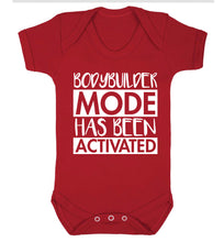 Bodybuilder mode activated Baby Vest red 18-24 months