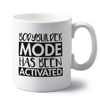 Bodybuilder mode activated left handed white ceramic mug