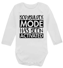 Bodybuilder mode activated Baby Vest long sleeved white 6-12 months