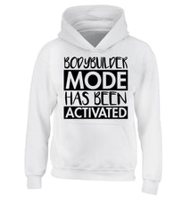 Bodybuilder mode activated children's white hoodie 12-14 Years