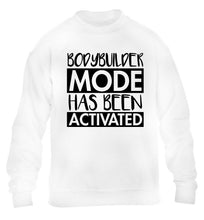 Bodybuilder mode activated children's white sweater 12-14 Years