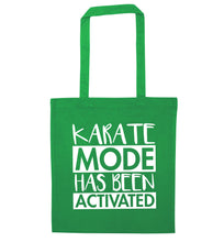 Karate mode activated green tote bag
