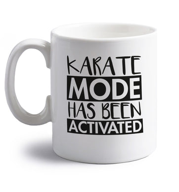 Karate mode activated right handed white ceramic mug