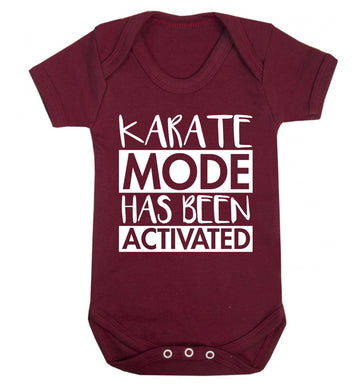 Karate mode activated Baby Vest maroon 18-24 months