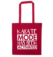 Karate mode activated red tote bag