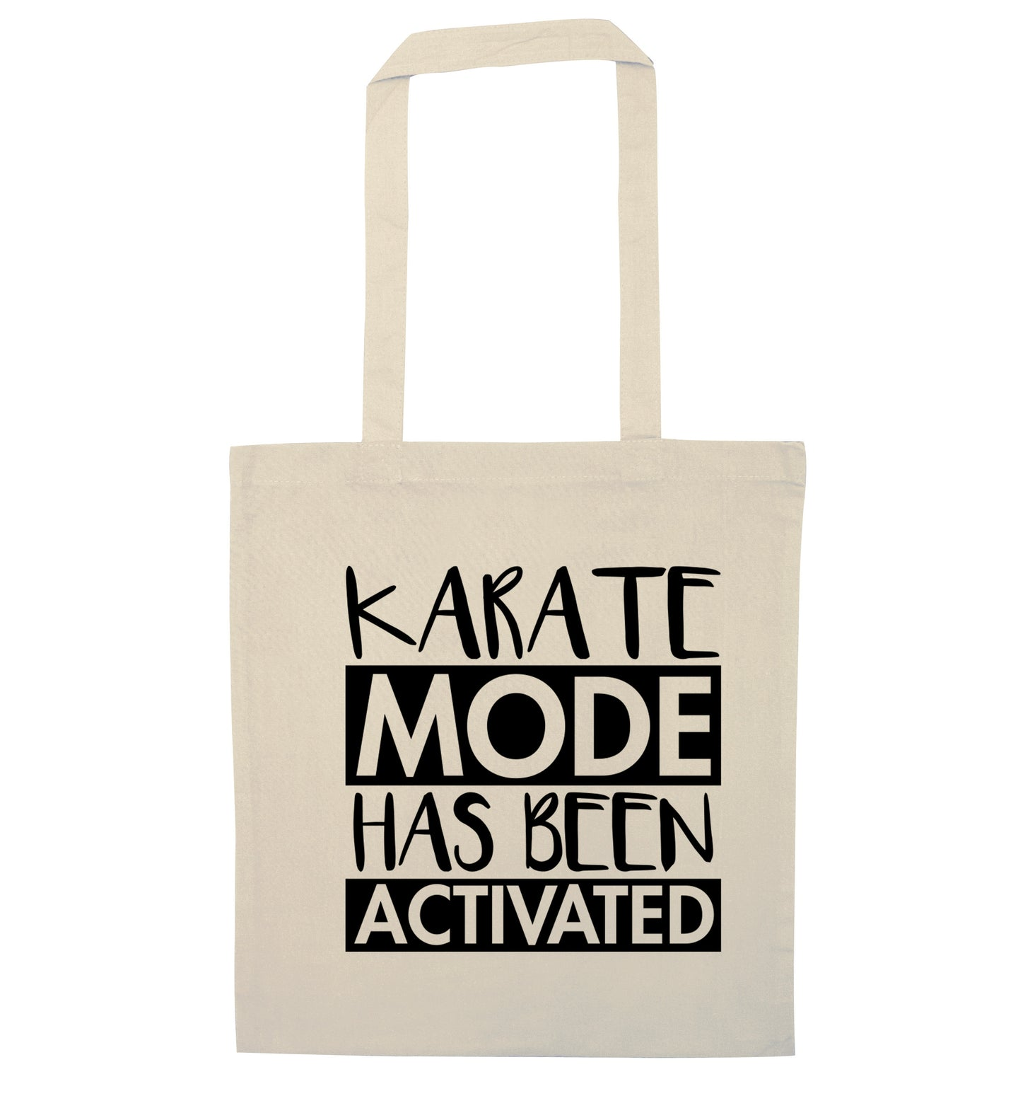 Karate mode activated natural tote bag