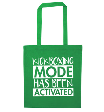 Kickboxing mode activated green tote bag