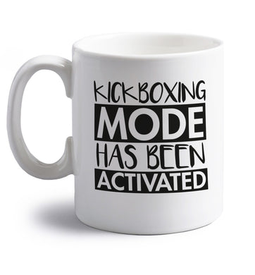 Kickboxing mode activated right handed white ceramic mug