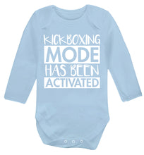 Kickboxing mode activated Baby Vest long sleeved pale blue 6-12 months
