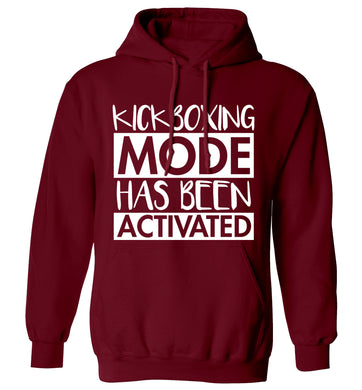 Kickboxing mode activated adults unisex maroon hoodie 2XL