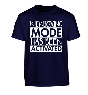Kickboxing mode activated Children's navy Tshirt 12-14 Years