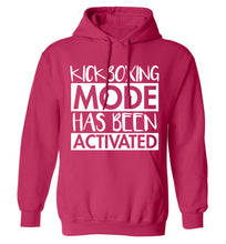 Kickboxing mode activated adults unisex pink hoodie 2XL
