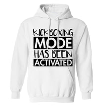 Kickboxing mode activated adults unisex white hoodie 2XL