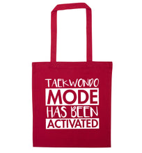 Taekwondo mode activated red tote bag
