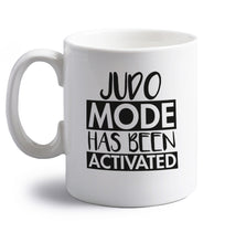 Judo mode activated right handed white ceramic mug