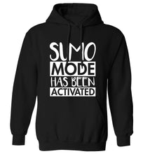 Sumo mode activated adults unisex black hoodie 2XL