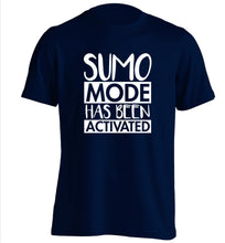 Sumo mode activated adults unisex navy Tshirt 2XL