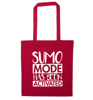 Sumo mode activated red tote bag