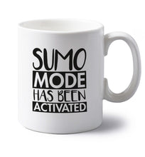 Sumo mode activated left handed white ceramic mug