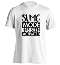 Sumo mode activated adults unisex white Tshirt 2XL