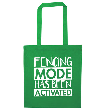 Fencing mode activated green tote bag
