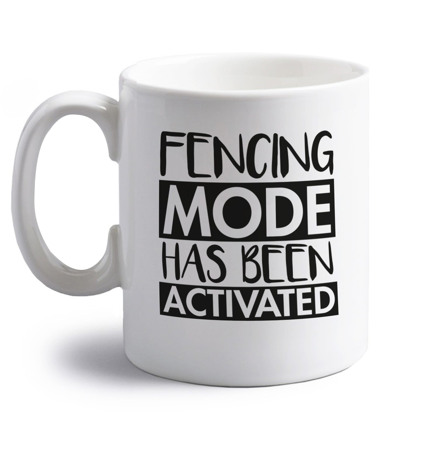 Fencing mode activated right handed white ceramic mug