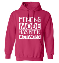 Fencing mode activated adults unisex pink hoodie 2XL