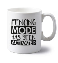 Fencing mode activated left handed white ceramic mug