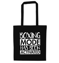 Boxing mode activated black tote bag