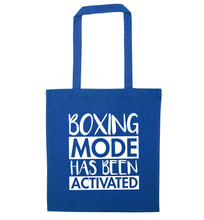 Boxing mode activated blue tote bag