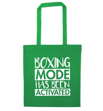 Boxing mode activated green tote bag