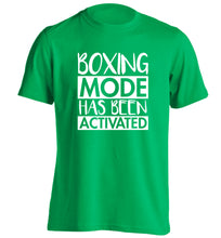 Boxing mode activated adults unisex green Tshirt 2XL
