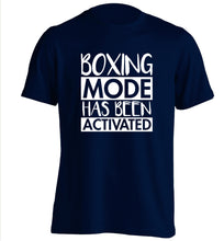 Boxing mode activated adults unisex navy Tshirt 2XL