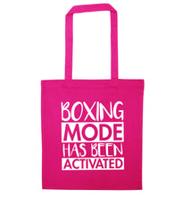 Boxing mode activated pink tote bag