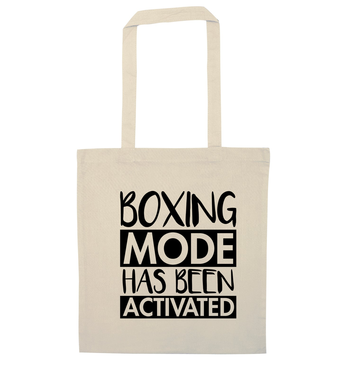 Boxing mode activated natural tote bag