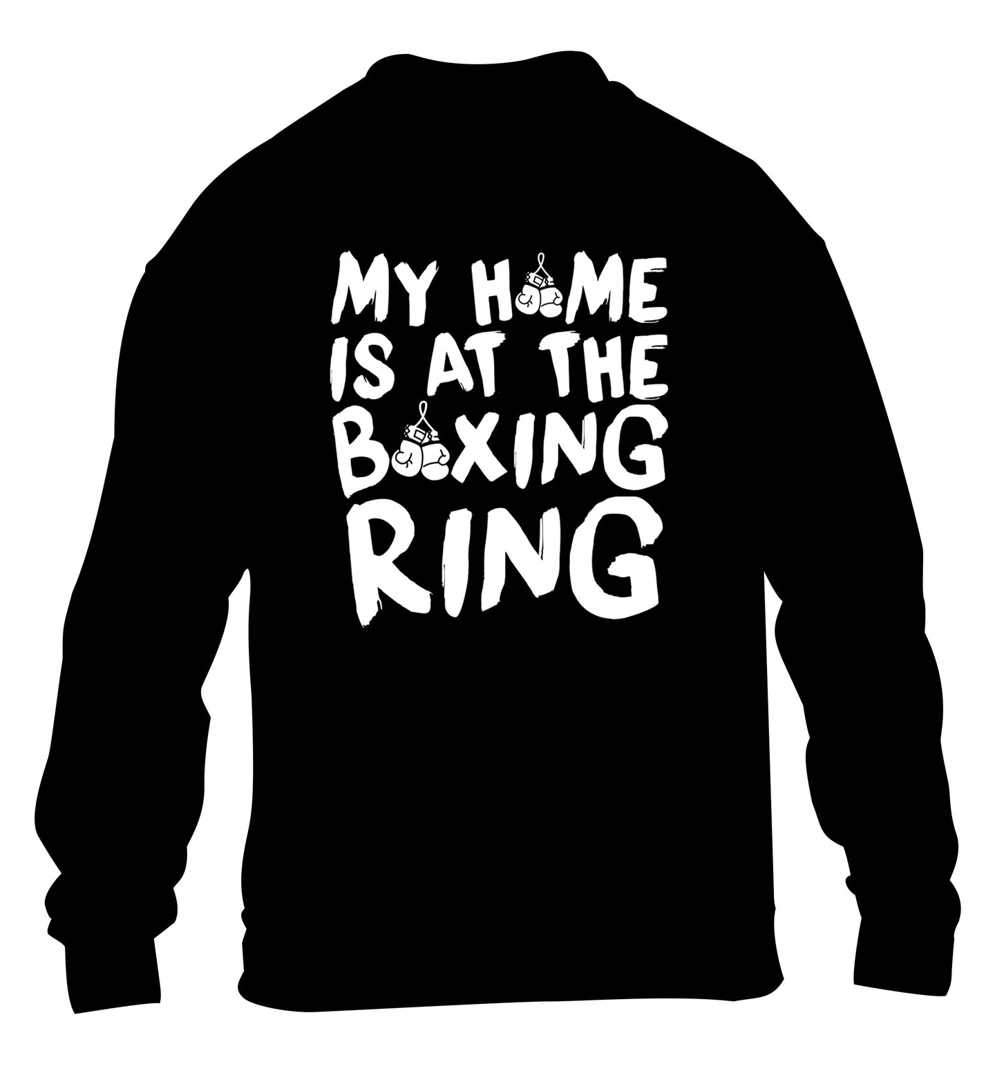 My home is at the boxing ring children's black sweater 12-14 Years