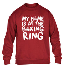 My home is at the boxing ring children's grey sweater 12-14 Years